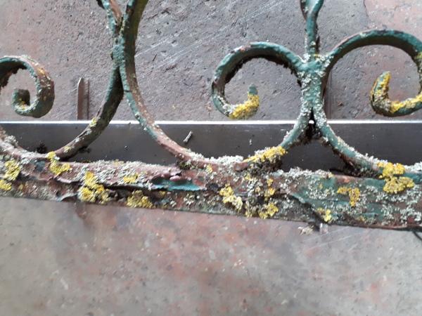 ancien fer forgé rouvert de rouille , mousse et d'une vielle peinture