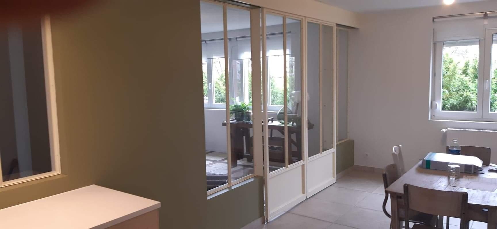 porte vitré d'intérieur coulissante style atelier